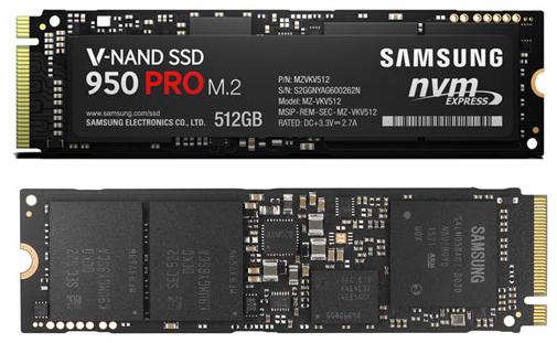 Samsung 950 PRO M2 SSD - fata si spate
