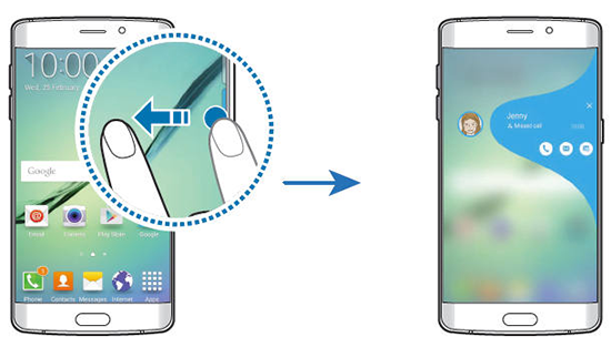 Cum se vizualizează notificările ce aparțin My People pentru ecranul lateral al lui Galaxy S6 Edge