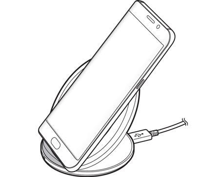 Plasați centrul spatelui smartphone-ului Galaxy S7S7 Edge pe centrul pad-ului încărcătorului wireless